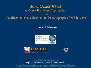 Java Ocean Atlas A CrossPlatform Application for Visualization