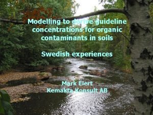 Modelling to derive guideline concentrations for organic contaminants