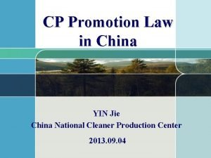 CP Promotion Law in China YIN Jie China