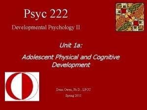 Psyc 222 Developmental Psychology II Unit 1 a