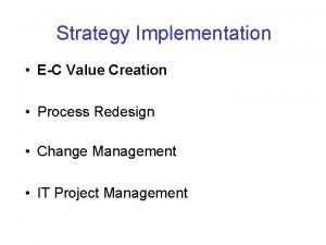 Strategy Implementation EC Value Creation Process Redesign Change