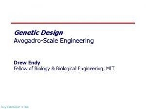 Genetic Design AvogadroScale Engineering Drew Endy Fellow of