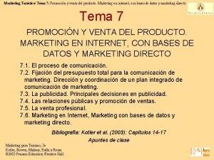Marketing Turstico Tema 7 Promocin y venta del