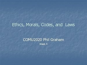 Ethics Morals Codes and Laws COMU 2020 Phil
