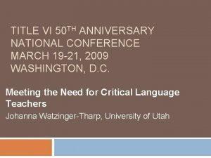 TITLE VI 50 TH ANNIVERSARY NATIONAL CONFERENCE MARCH