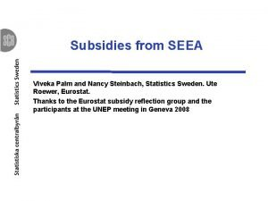 Subsidies from SEEA Viveka Palm and Nancy Steinbach