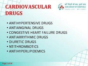 CARDIOVASCULAR DRUGS ANTIHYPERTENSIVE DRUGS ANTIANGINAL DRUGS CONGESTIVE HEART