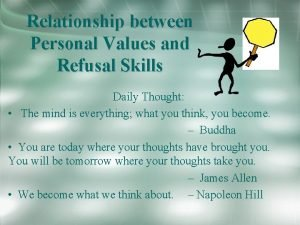 Relationship between Personal Values and Refusal Skills Daily