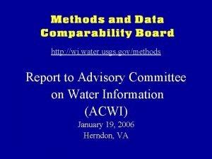 http wi water usgs govmethods Report to Advisory
