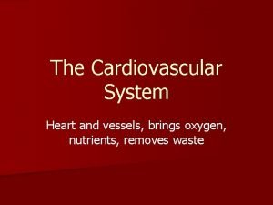 The Cardiovascular System Heart and vessels brings oxygen