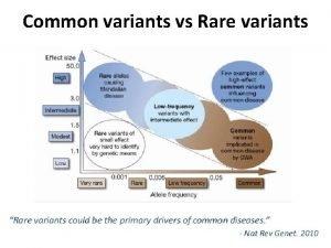 Common variants vs Rare variants The 1000 genome