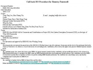 Callback HO Procedure for Reentry Femtocell Document Number