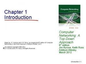 Chapter 1 Introduction Slides by J F Kurose