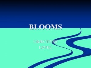 BLOOMS OBJECTIVES LEVEL Blooms Six Levels n n
