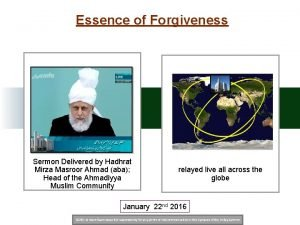 Essence of Forgiveness Sermon Delivered by Hadhrat Mirza