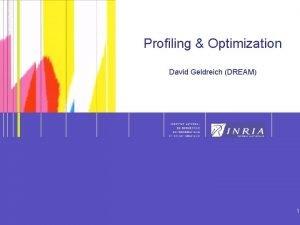 1 Profiling Optimization David Geldreich DREAM 1 Profiling