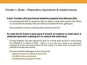 Forster v Boss Reparative injunctions related issues Facts