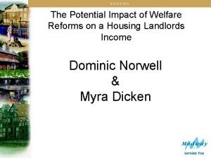 HOUSING The Potential Impact of Welfare Reforms on
