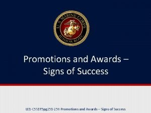 Promotions and Awards Signs of Success LE 1