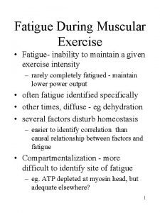 Fatigue During Muscular Exercise Fatigue inability to maintain