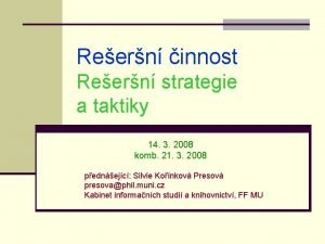 Reern innost Reern strategie a taktiky 14 3