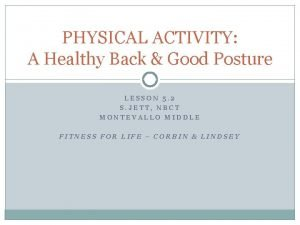 PHYSICAL ACTIVITY A Healthy Back Good Posture LESSON