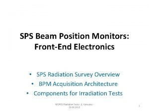 SPS Beam Position Monitors FrontEnd Electronics SPS Radiation