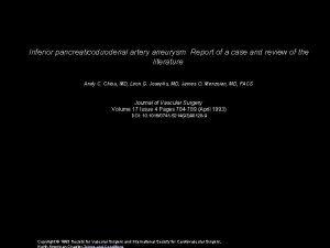 Inferior pancreaticoduodenal artery aneurysm Report of a case