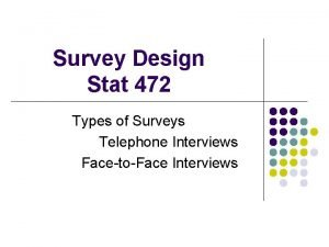 Survey Design Stat 472 Types of Surveys Telephone