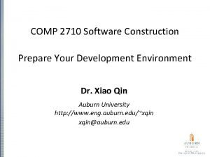 COMP 2710 Software Construction Prepare Your Development Environment