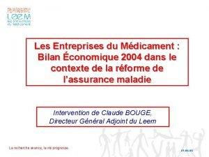 Les Entreprises du Mdicament Bilan conomique 2004 dans