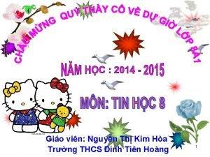 Gio vin Nguyn Th Kim Ha Trng THCS