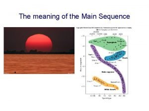 The meaning of the Main Sequence The Main