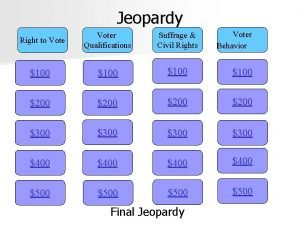 Jeopardy Voter Behavior Right to Voter Qualifications Suffrage