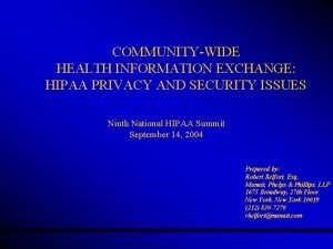 COMMUNITYWIDE HEALTH INFORMATION EXCHANGE HIPAA PRIVACY AND SECURITY