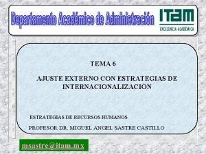 TEMA 6 AJUSTE EXTERNO CON ESTRATEGIAS DE INTERNACIONALIZACIN