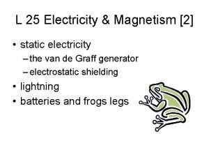 L 25 Electricity Magnetism 2 static electricity the