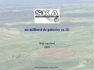 SKA un milliard de galaxies en HI Wim