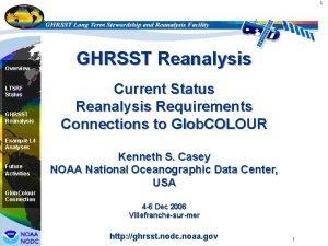 1 Overview LTSRF Status GHRSST Reanalysis Current Status