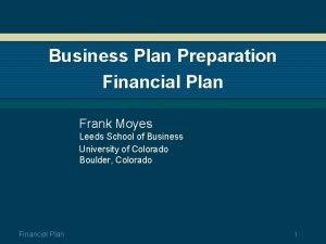 Business Plan Preparation Financial Plan Frank Moyes Leeds