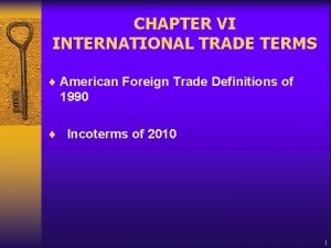 CHAPTER VI INTERNATIONAL TRADE TERMS American Foreign Trade