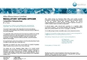 Alba Bioscience Limited REGULATORY AFFAIRS OFFICER Competitive Salarypackage