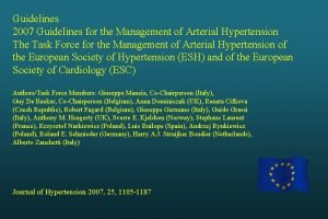 Guidelines 2007 Guidelines for the Management of Arterial