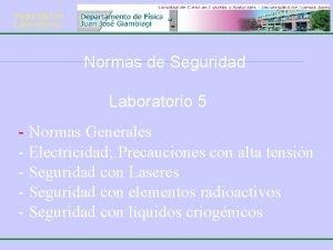 Seguridad en Laboratorios Normas de Seguridad Laboratorio 5