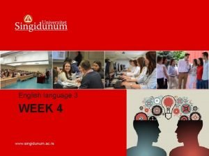 English language 3 WEEK 4 WEEK 4 Pioneer