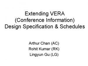 Extending VERA Conference Information Design Specification Schedules Arthur