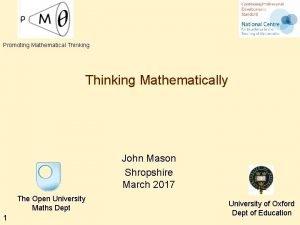 Promoting Mathematical Thinking Mathematically John Mason Shropshire March
