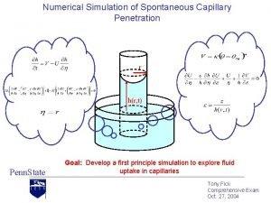 Numerical Simulation of Spontaneous Capillary Penetration r hr