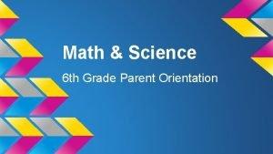 Math Science 6 th Grade Parent Orientation Math