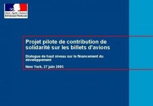 Projet pilote de contribution de solidarit sur les